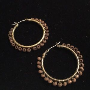Avon Jewelry - Avon hoop wooden beaded earrings
